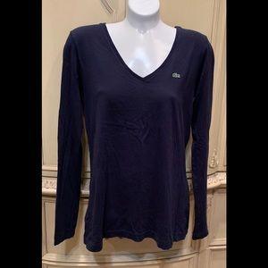 Lacoste V Neck Long Sleeve Top Blue Size 10